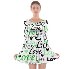 Green  Valentine s day pattern Long Sleeve Skater Dress