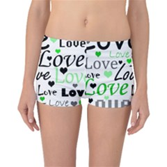Green  Valentine s day pattern Boyleg Bikini Bottoms