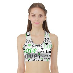 Green  Valentine s day pattern Sports Bra with Border