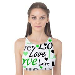 Green  Valentine s day pattern Tank Bikini Top