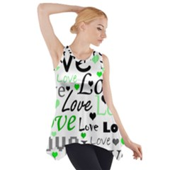 Green  Valentine s day pattern Side Drop Tank Tunic