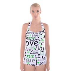 Green  Valentine s day pattern Boyleg Halter Swimsuit