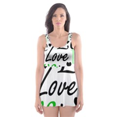 Green  Valentine s day pattern Skater Dress Swimsuit