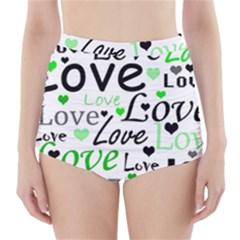 Green  Valentine s day pattern High-Waisted Bikini Bottoms