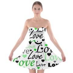 Green  Valentine s day pattern Strapless Bra Top Dress