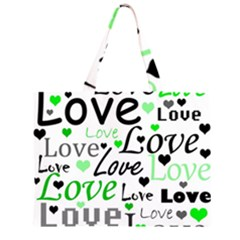 Green  Valentine s day pattern Zipper Large Tote Bag