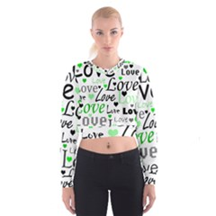 Green  Valentine s day pattern Women s Cropped Sweatshirt