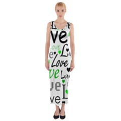 Green  Valentine s day pattern Fitted Maxi Dress