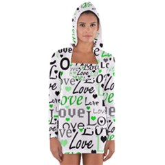 Green  Valentine s day pattern Women s Long Sleeve Hooded T-shirt