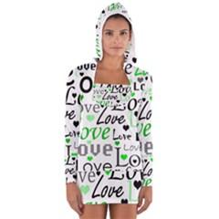 Green  Valentine s day pattern Women s Long Sleeve Hooded T-shirt