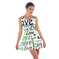 Green  Valentine s day pattern Cotton Racerback Dress