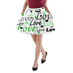 Green  Valentine s day pattern A-Line Pocket Skirt