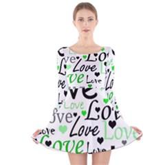 Green  Valentine s day pattern Long Sleeve Velvet Skater Dress