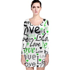 Green  Valentine s day pattern Long Sleeve Velvet Bodycon Dress