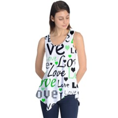 Green  Valentine s day pattern Sleeveless Tunic