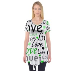 Green  Valentine s day pattern Short Sleeve Tunic