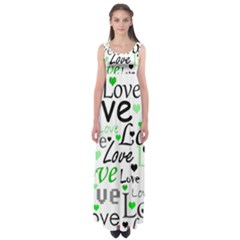 Green  Valentine s day pattern Empire Waist Maxi Dress