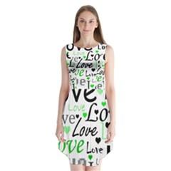 Green  Valentine s day pattern Sleeveless Chiffon Dress