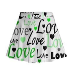 Green  Valentine s day pattern Mini Flare Skirt