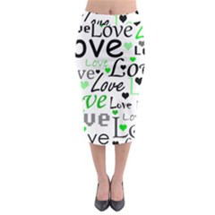 Green  Valentine s day pattern Midi Pencil Skirt