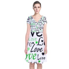 Green  Valentine s day pattern Short Sleeve Front Wrap Dress