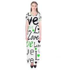 Green  Valentine s day pattern Short Sleeve Maxi Dress