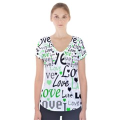 Green  Valentine s day pattern Short Sleeve Front Detail Top