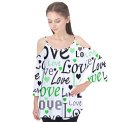 Green  Valentine s day pattern Flutter Tees