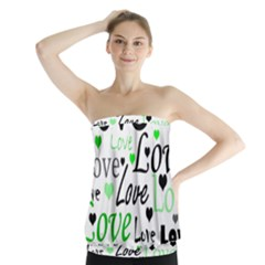 Green  Valentine s day pattern Strapless Top