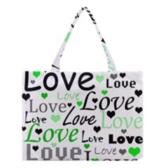Green  Valentine s day pattern Medium Tote Bag