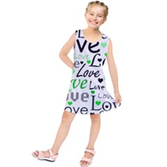 Green  Valentine s day pattern Kids  Tunic Dress