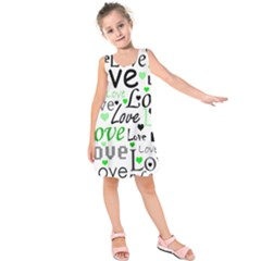 Green  Valentine s day pattern Kids  Sleeveless Dress