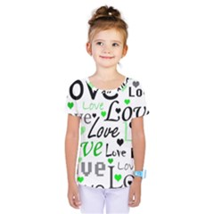 Green  Valentine s day pattern Kids  One Piece Tee