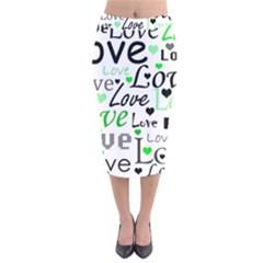 Green  Valentine s day pattern Velvet Midi Pencil Skirt