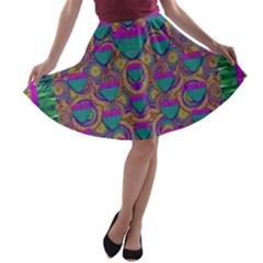 Merry Love In Heart  Time A Line Skater Skirt