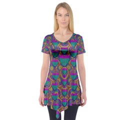 Merry Love In Heart  Time Short Sleeve Tunic