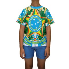 Coat of Arms of Brazil Kids  Short Sleeve Swimwear