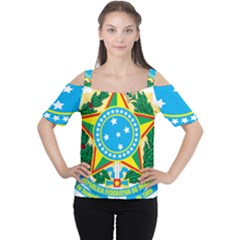 Coat of Arms of Brazil Women s Cutout Shoulder Tee