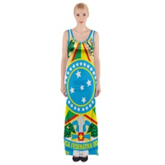 Coat of Arms of Brazil Maxi Thigh Split Dress