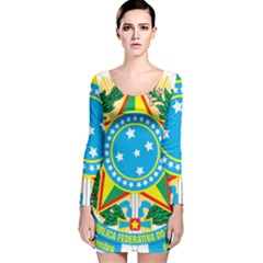 Coat of Arms of Brazil Long Sleeve Velvet Bodycon Dress