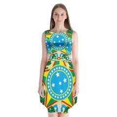 Coat Of Arms Of Brazil Sleeveless Chiffon Dress