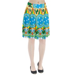 Coat of Arms of Brazil Pleated Skirt