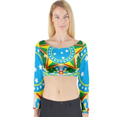 Coat of Arms of Brazil, 1971-1992 Long Sleeve Crop Top
