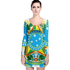 Coat of Arms of Brazil, 1971-1992 Long Sleeve Bodycon Dress