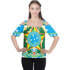 Coat of Arms of Brazil, 1971-1992 Women s Cutout Shoulder Tee
