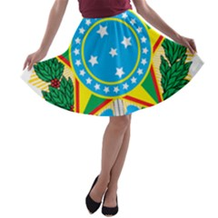 Coat of Arms of Brazil, 1971-1992 A-line Skater Skirt
