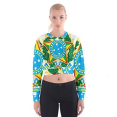 Coat of Arms of Brazil, 1971-1992 Women s Cropped Sweatshirt