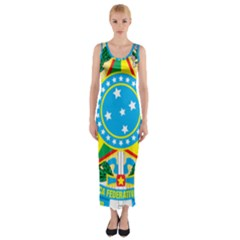 Coat of Arms of Brazil, 1971-1992 Fitted Maxi Dress