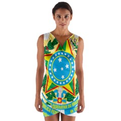 Coat of Arms of Brazil, 1971-1992 Wrap Front Bodycon Dress