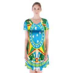 Coat of Arms of Brazil, 1971-1992 Short Sleeve V-neck Flare Dress